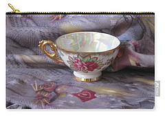 Carry-all Pouch featuring the photograph Cozy Time With Tea And Fleece Blanket by Nancy Lee Moran