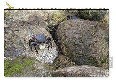 Carry-all Pouch featuring the photograph Crab On Rocks by Suzanne Luft