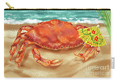 Crab With Cocktail Umbrella Carry-all Pouch