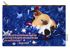 Carry-all Pouch featuring the photograph Cradled By A Blanket Of Stars And Stripes - Quote by Shelley Neff