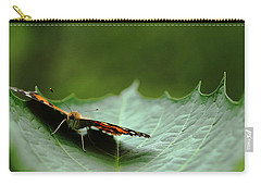 Carry-all Pouch featuring the photograph Cradled Painted Lady by Debbie Oppermann