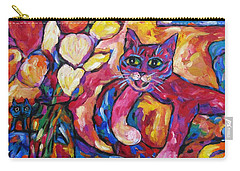 Crafty Crimson Cat On Couch Carry-all Pouch