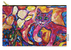 Carry-all Pouch featuring the painting Crafty Crimson Cat On Couch by Dianne  Connolly