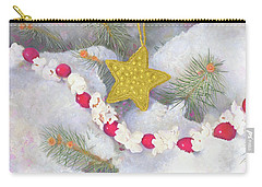 Carry-all Pouch featuring the painting Cranberry Garland With Gold Christmas Star by Nancy Lee Moran