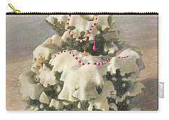 Carry-all Pouch featuring the painting Cranberry Garlands Christmas Blue Spruce by Nancy Lee Moran