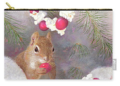Carry-all Pouch featuring the painting Cranberry Garlands Christmas Squirrel by Nancy Lee Moran