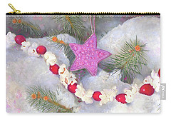 Carry-all Pouch featuring the painting Cranberry Garlands Christmas Star In Orchid by Nancy Lee Moran