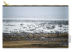 Carry-all Pouch featuring the photograph Crane Dance by Torbjorn Swenelius