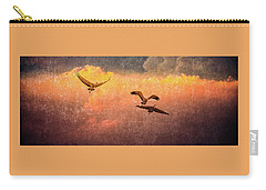 Carry-all Pouch featuring the photograph Cranes Lifting Into The Sky by Jeffrey Jensen