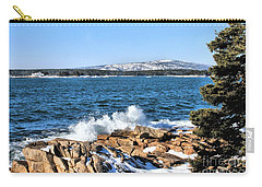 Carry-all Pouch featuring the photograph Crashing Acadia Waves by Debbie Stahre