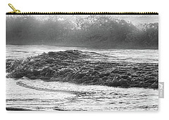 Carry-all Pouch featuring the photograph Crashing Wave At Beach Black And White  by John McGraw