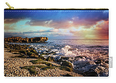 Carry-all Pouch featuring the photograph Crashing Waves At Low Tide by Debra and Dave Vanderlaan