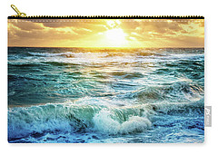 Carry-all Pouch featuring the photograph Crashing Waves Into Shore by Debra and Dave Vanderlaan