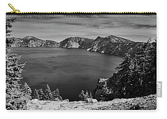 Carry-all Pouch featuring the photograph Crater Lake View In Bw by Frank Wilson