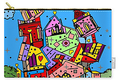 Carry-all Pouch featuring the digital art Crazy Building Popart By Nico Bielow by Nico Bielow