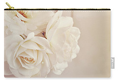 Carry-all Pouch featuring the photograph Cream Roses In Vase by Lyn Randle