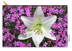 Carry-all Pouch featuring the photograph Creeping Fuchsia Phlox With Lily by Nancy Lee Moran