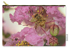 Crepe Myrtle And Bee Carry-all Pouch by Olga Hamilton