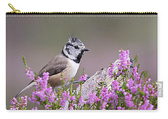 Carry-all Pouch featuring the photograph Crested Tit In Heather by Karen Van Der Zijden