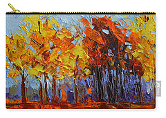 Carry-all Pouch featuring the painting Crispy Autumn Day Landscape Forest Trees - Modern Impressionist Knife Palette Oil Painting by Patricia Awapara