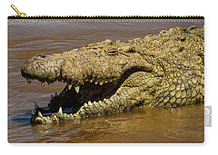 Crocodile Grins On The Mara River Carry-all Pouch