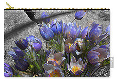 Carry-all Pouch featuring the digital art Crocus - Between A Rock And You by Stuart Turnbull