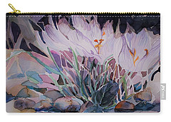 Carry-all Pouch featuring the painting Crocuses by Mindy Newman