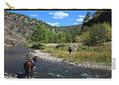 Crossing The Gila On Horseback Carry-all Pouch