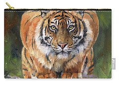 Carry-all Pouch featuring the painting Crouching Tiger by David Stribbling
