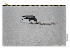 Carry-all Pouch featuring the photograph Crow Chowing Down by Marie Neder