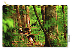 Carry-all Pouch featuring the photograph Crow On A Table by Andy Lawless