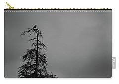 Crow Perched On Tree Top - Black And White Carry-all Pouch by Matt Harang