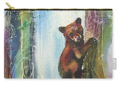 Carry-all Pouch featuring the painting Cub Bear Climbing by Christy Freeman