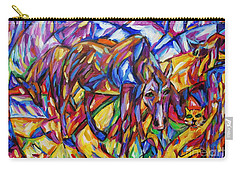 Carry-all Pouch featuring the painting Cubist Cat Horse Interaction by Dianne  Connolly