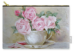 Cup And Saucer Roses Carry-all Pouch