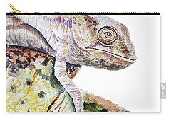 Carry-all Pouch featuring the painting Curious Baby Chameleon by Irina Sztukowski