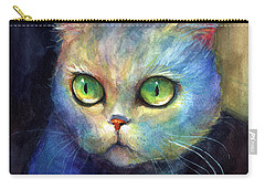 Curious Kitten Watercolor Painting  Carry-all Pouch