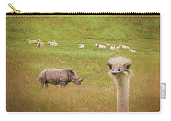 Curious Ostrich And White Rhino Carry-all Pouch