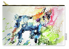 Cute Baby Goat Playing Carry-all Pouch by Kovacs Anna Brigitta