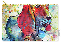 Carry-all Pouch featuring the painting Cute Basset Hound by Kovacs Anna Brigitta