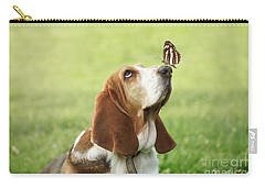 Cute Dog With Butterfly On His Nose Carry-all Pouch