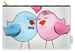 Cute Lovebirds Watercolour Carry-all Pouch