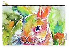 Carry-all Pouch featuring the painting Cute Rabbit by Kovacs Anna Brigitta