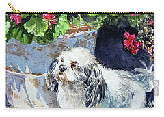 Cute Shih Tzu Dog Under Geranium  Carry-all Pouch