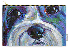 Carry-all Pouch featuring the painting Cute Shih Tzu Face by Robert Phelps