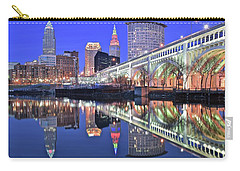 Carry-all Pouch featuring the photograph Cuyahoga River Blue Hour by Frozen in Time Fine Art Photography