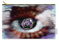 Carry-all Pouch featuring the digital art Cyber Oculus Cumulus by Iowan Stone-Flowers