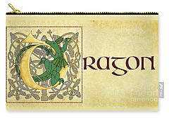 D Is For Dragon Page Gold Carry-all Pouch by Donna Huntriss