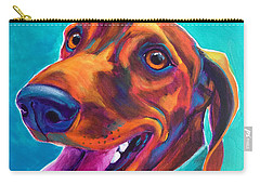 Dachshund - Turquoise Carry-all Pouch