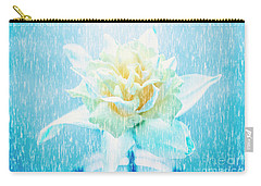 Daffodil Flower In Rain. Digital Art Carry-all Pouch